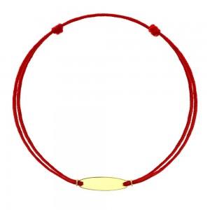 Bratara cu snur rosu si banut din aur galben