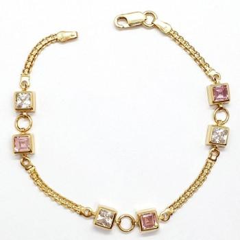 Bratara de aur cu zirconii albe si roz