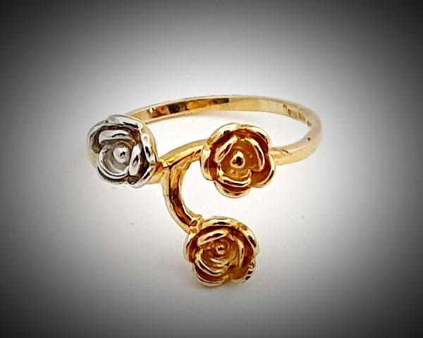 Inel Dama din Aur Galben si Alb cu Trei Trandafiri-1