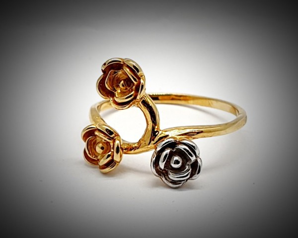 Inel Dama din Aur Galben si Alb cu Trei Trandafiri-2