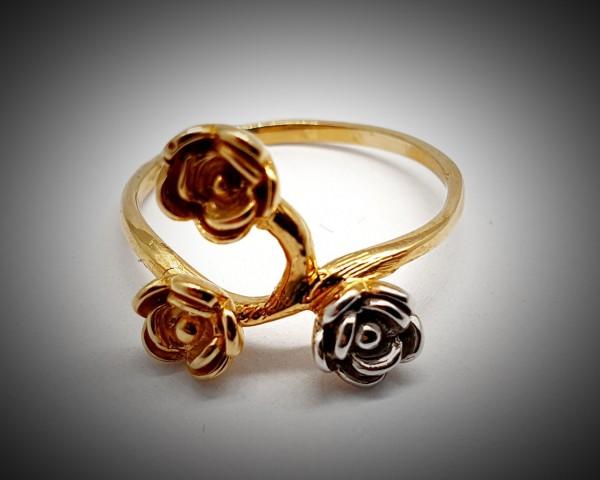Inel Dama din Aur Galben si Alb cu Trei Trandafiri-3