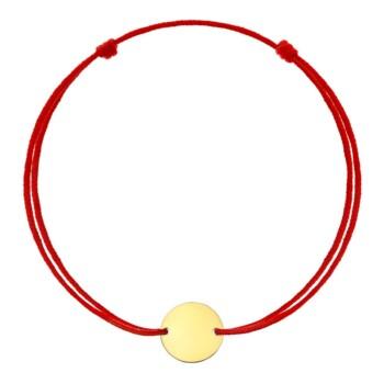 Bratara cu banut de aur cu snur rosu