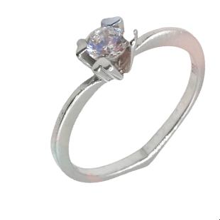 Inel de logodnă din aur alb 14k în formă de inimă cu montură în patru puncte