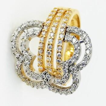 Inel din aur si pietre zirconiu model Butterfly