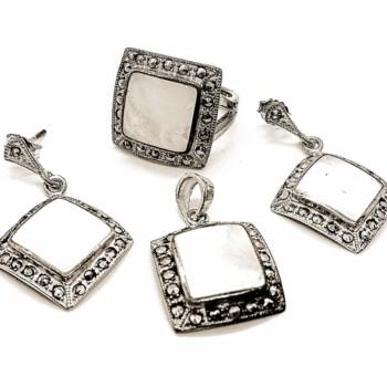 Set de bijuterii din argint cu sidef si marcasite