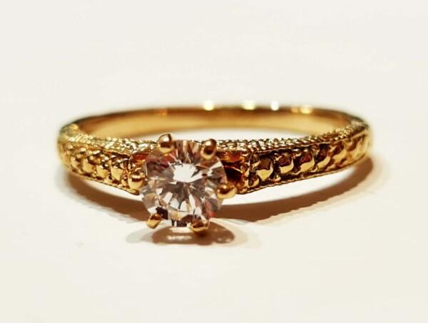 Inel de logodnă de aur galben 14K STYLE
