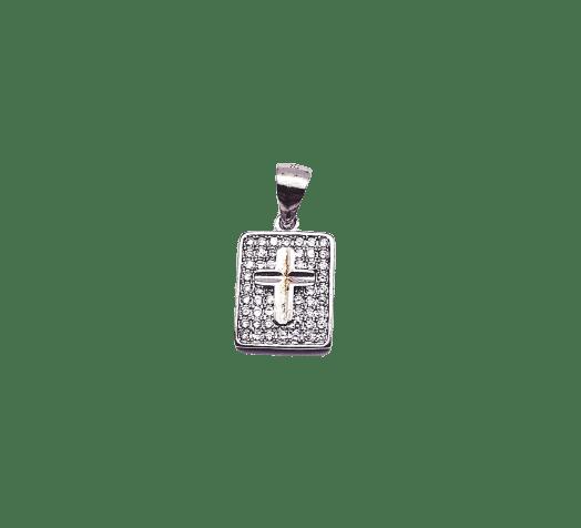 Pandantiv de argint 925 dreptunghi și cruce