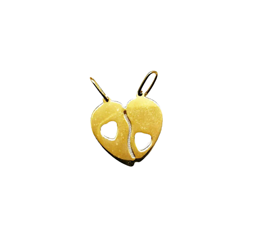 Pandantiv de aur galben inima cu doua toarte