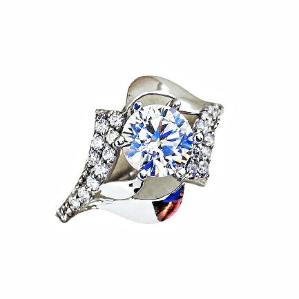 Inel de aur alb 14K și zirconia model Me2you