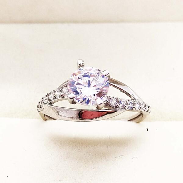 Inel de aur alb și cristale naturale model Sweetheart